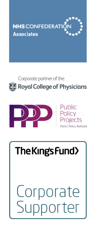 NHS Confederation Associates logo, Royal College of Physicians Corporate Partner Logo, Public Policy Projects logo, The King's Fund Corporate Supporter logo